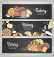 set of retro chalk drawing bakery banners bakery vector image vector image