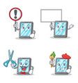 set of tablet character with sign bring board vector image vector image