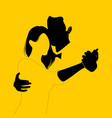silhouette couple dancing on yellow background vector image vector image