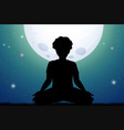 silhouette man meditating in park at night vector image vector image