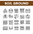 soil ground research collection icons set vector image vector image