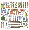 Spring garden doodle setColored toolsplants vector image