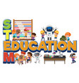 stem education logo with kids in many education vector image vector image