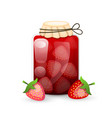 strawberry jam jar is flat style with logo lines vector image