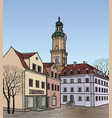 street view old city square cityscape tower vector image vector image