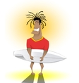 Surfer Man with Surfing Board vector image