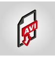The AVI icon3D isometric video file format symbol vector image