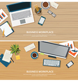top view office workplace on wood table vector image vector image