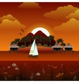 Tropical island sunset background vector image