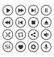 video player icon set vector image vector image
