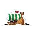 viking ship mascot vector image vector image
