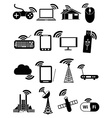 wireless network icons set vector image vector image