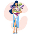 woman and large bouquet flowers in minimalist vector image vector image
