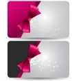 Holiday gift card with pink ribbons and bow vector image