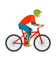 racing cyclist in action fast road biker from side vector image