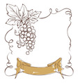 Wine label with a bunch of grapes and ribbon vector image