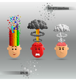 3D set of three brain emotions vector image vector image
