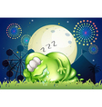 A fat monster sleeping at the carnival in the vector image vector image