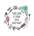 accessories for hairdresser s motivational vector image