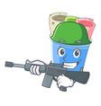army rolled ice creams in cartoon cups vector image vector image