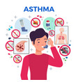 asthma flat composition vector image vector image
