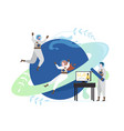 astronauts in outer space flat style vector image
