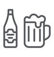 beer line icon bar and alcohol glass and bottle vector image vector image