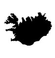 black silhouette country borders map of iceland vector image vector image
