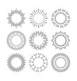 black sunburst design elements set isolated vector image