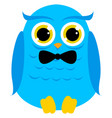 blue owl on white background vector image vector image
