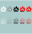 bonfire white grey black red grey icon vector image vector image