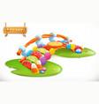 bridge candies sweet land fruit candy 3d icon vector image vector image