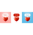 card or flyer valentine realistic red heart like vector image vector image