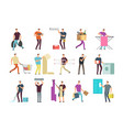 cartoon people in household activities vector image