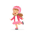cheerful little girl in pink wear and protection vector image vector image