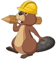 Cute cartoon beaver wearing safety hat and holding vector image