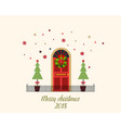 decorated christmas door with snow vector image