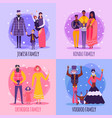 different religious people family flat icon set vector image vector image