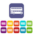 double decker bus icons set