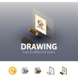 Drawing icon in different style vector image vector image