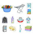 dry cleaning equipment cartoon icons in set vector image vector image