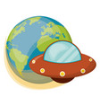 earth ufo spaceship object vector image vector image