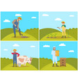 farmer digging soil field vector image vector image