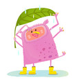 funny cute monster under rain vector image vector image