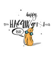 hand drawn happy halloween greeting card vector image vector image