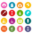 happy birthday icons set colorful circles vector image