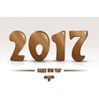 Happy new year 2017 Gold lettering on a white vector image vector image