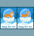 happy new year corgi symbol of chinese horoscope vector image vector image