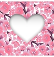 Heart with cherry blossom design vector image vector image