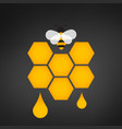 honeycomb logo with honey drop vector image